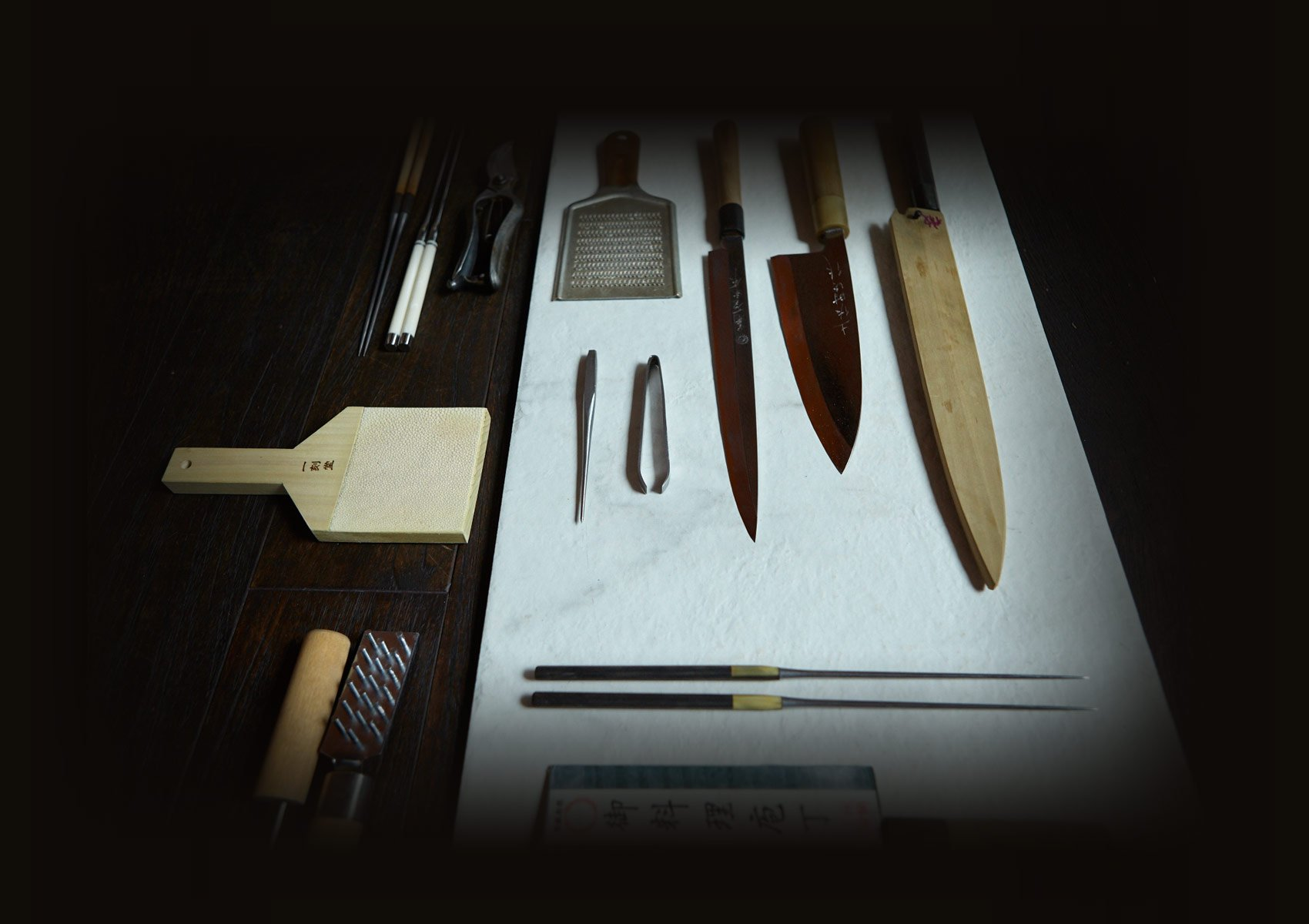 The instruments of Renown Chef Nobu Matsuhisa