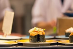 weird japanese food - sushi roll with sea urchin